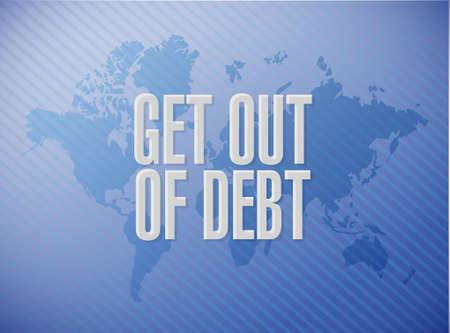 debt goals: get out of debt world map sign concept illustration design graphic Stock Photo
