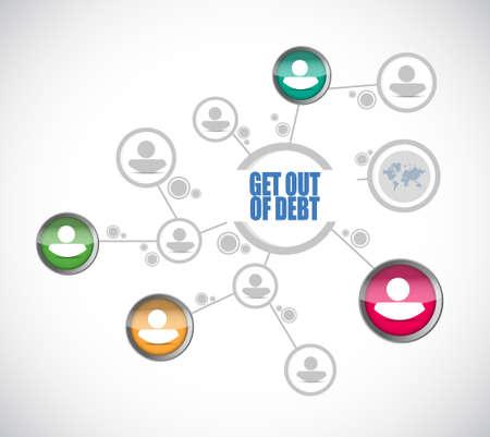 debt goals: get out of debt people diagram sign concept illustration design graphic Stock Photo