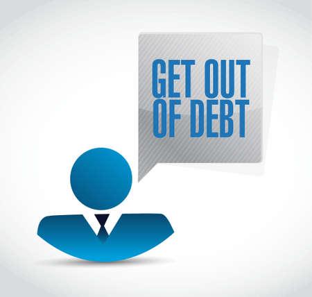 debt goals: get out of debt avatar sign concept illustration design graphic Stock Photo