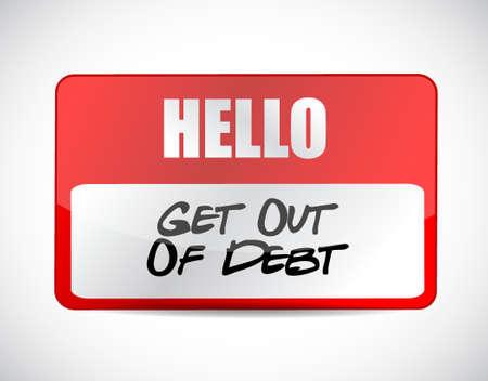debt goals: get out of debt name tag sign concept illustration design graphic