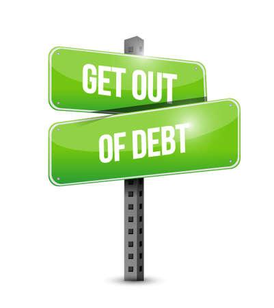 debt goals: get out of debt street sign concept illustration design graphic