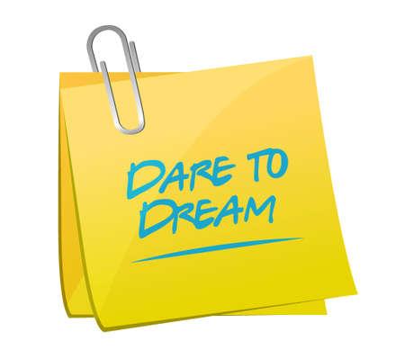 dare to dream memo post sign concept illustration design graphic