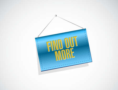 find out: find out more hanging banner sign concept illustration design graphic Illustration