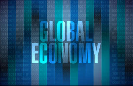 binary background: global economy binary background sign concept illustration design graphic