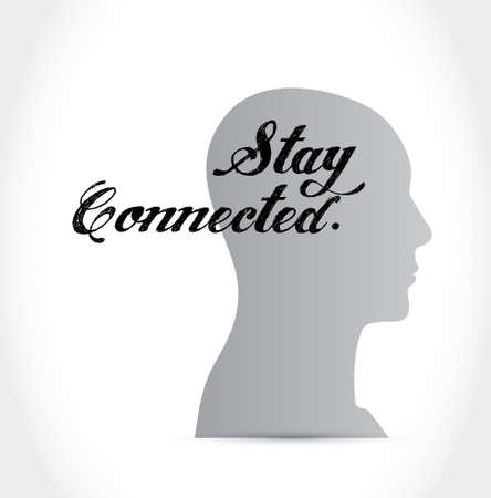 stay connected thinking brain sign illustration design graphic