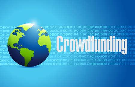 crowdfunding binary globe sign concept illustration design graphic Illustration