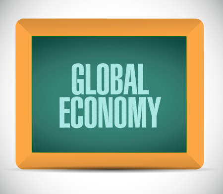 global economy: global economy chalk board sign concept illustration design graphic