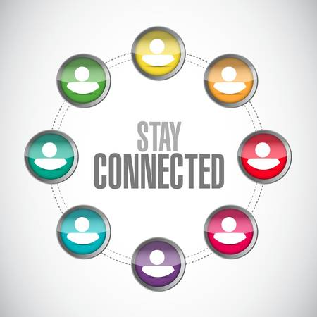 stay connected business network sign illustration design graphic