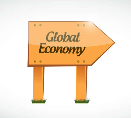 global finance: global economy wood sign concept illustration design graphic Illustration
