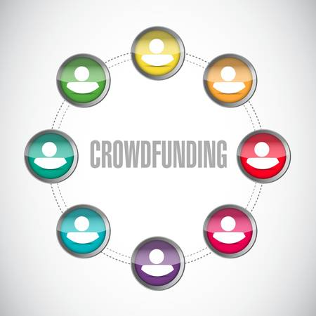 crowdfunding close network sign concept illustration design graphic