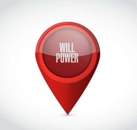 determine: will power pointer sign concept illustration design graphic