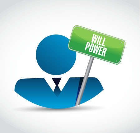 self esteem: will power businessman sign concept illustration design graphic