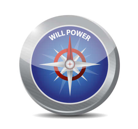 will: will power compass sign concept illustration design graphic