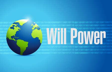 will power binary globe sign concept illustration design graphic