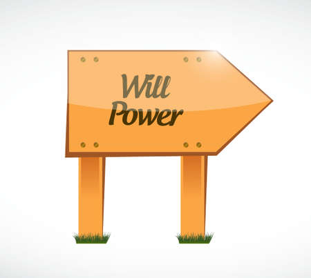 will power wood sign concept illustration design graphic