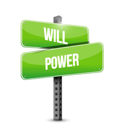 self esteem: will power road sign concept illustration design graphic