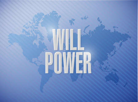will power world map sign concept illustration design graphic