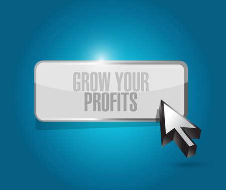 grow your profits button sign concept illustration design graphic