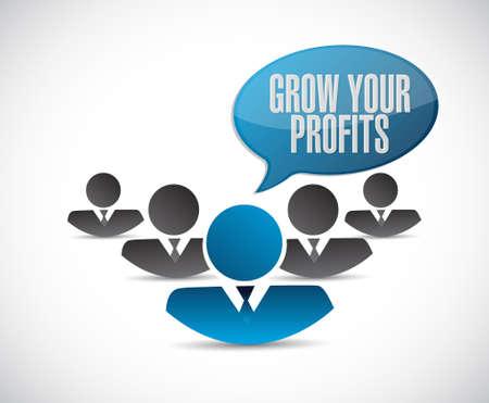 grow your profits teamwork sign concept illustration design graphic