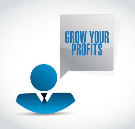 grow your profits businessman sign concept illustration design graphic
