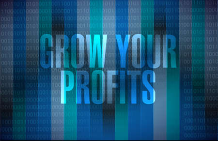 binary background: grow your profits binary background sign concept illustration design graphic