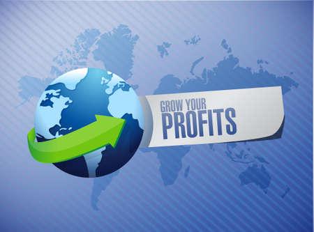 grow your profits global sign concept illustration design graphic