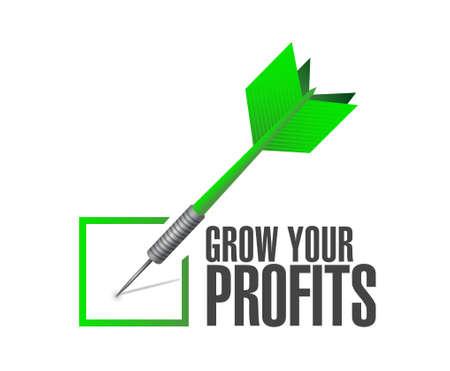 grow your profits check dart sign concept illustration design graphic