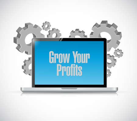 grow your profits computer sign concept illustration design graphic