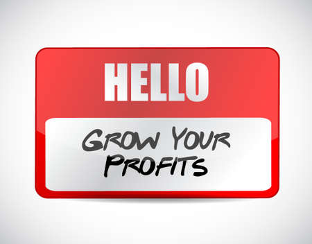 grow your profits name tag sign concept illustration design graphic