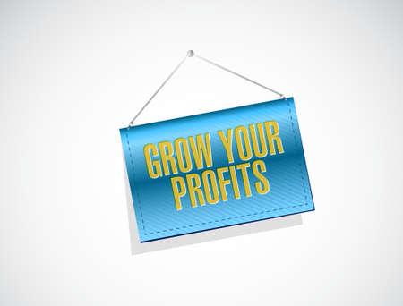 grow your profits banner sign concept illustration design graphic