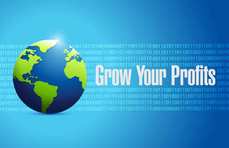 grow your profits binary globe sign concept illustration design graphic 矢量图像