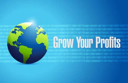 grow your profits binary globe sign concept illustration design graphic Illustration