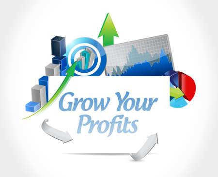 grow your profits business charts sign concept illustration design graphic