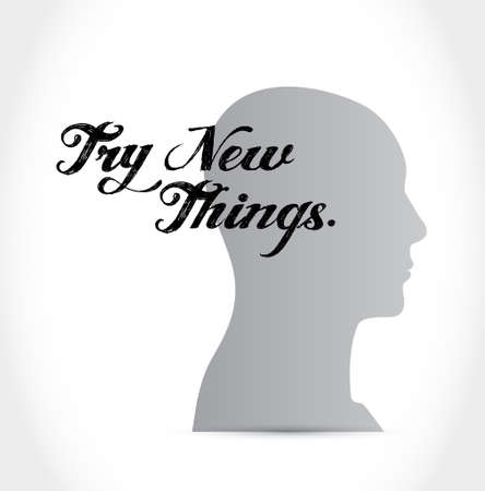 try new things thinking brain sign concept illustration design graphic