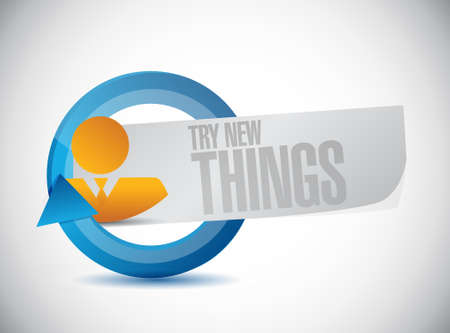try: try new things people cycle sign concept illustration design graphic