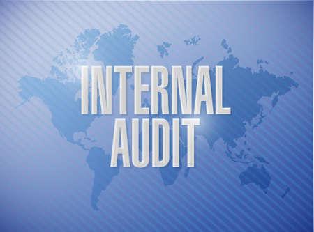 internal audit: Internal Audit world map sign concept illustration design graphic Illustration