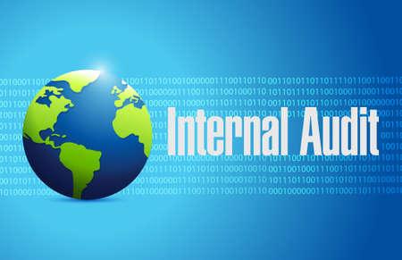 binary globe: Internal Audit binary globe sign concept illustration design graphic
