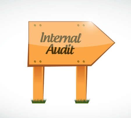 internal audit: Internal Audit wood sign concept illustration design graphic