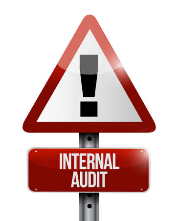 internal audit: Internal Audit warning road sign concept illustration design graphic
