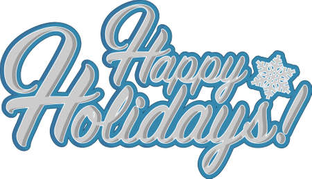 picasso: Happy holidays sign blue snowflake background illustration graphics