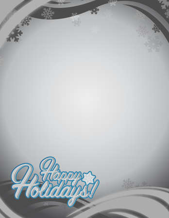 picasso: Happy holidays sign white snowflake background illustration graphics