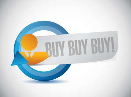 obtaining: buy buy buy people cycle sign concept illustration design graphic Illustration