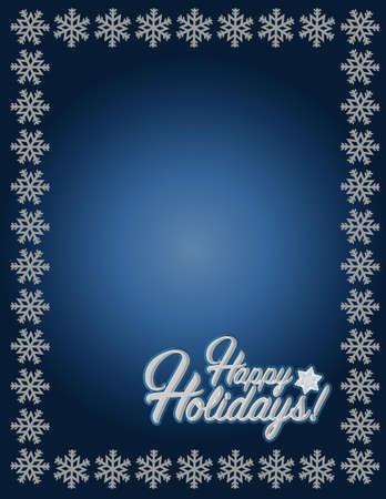 Happy holidays blue snowflake background illustration graphics Illustration