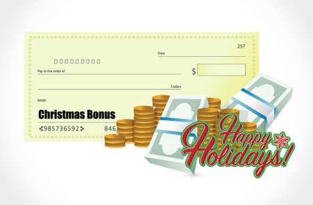 check sign: happy holiday sign and check bonus illustration design graphic