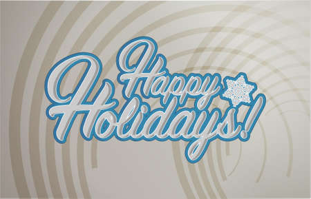 Happy holidays sign waves background illustration graphics Illustration