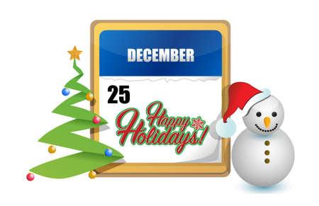 december 25th: happy holiday December 25th sign illustration design graphic Illustration