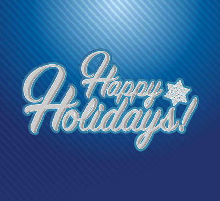 Happy holidays sign blue background illustration graphics
