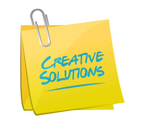 design solutions: creative solutions note sign concept illustration design graphic