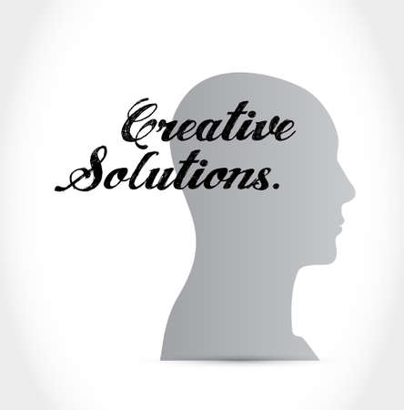 design solutions: creative solutions thinking brain sign concept illustration design graphic Illustration