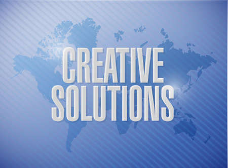 design solutions: creative solutions world map sign concept illustration design graphic